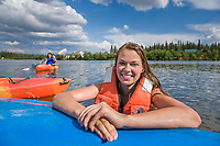 The Slater sisters kayaking on the Chena River, Fairbanks, Alaska.