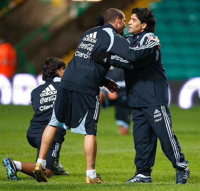 Diego Maradona at Celtic Park for his first training session and bonding with his player.
