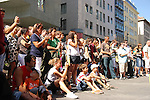 Tourists audience watching  street performance in Vienna on Stephansplatz