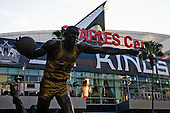 Statue of Magic Johnson in front of Staples Center before ice-hockey match between Los Angeles Kings and Detroit Red Wings in NHL league, February 28, 2011 at Staples Center, Los Angeles, USA. (Photo By Matic Klansek Velej / Sportida.com)