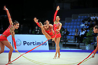 Senior rhythmic group from Ukraine performs at 2010 World Cup at Portimao, Portugal on March 13, 2010.  (Photo by Tom Theobald).