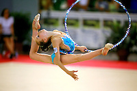 Martina Alicata of Italy split leaps with hoop during junior All-Around competition at 2006 Trofeo Cariprato in Prato, Italy on June 17, 2006.  (Photo by Tom Theobald)<br />