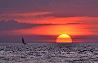 sunset in senggigi beach, lombok, indonesia