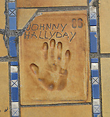 Hand print of the film star and singer, Johnny Hallyday, outside the Palais des Festivals et des Congres, Cannes, France.
