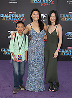 """HOLLYWOOD, CA - April 19: Ming-Na Wen, Michaela Zee, Cooper Dominic Zee, At Premiere Of Disney And Marvel's """"Guardians Of The Galaxy Vol. 2"""" At The Dolby Theatre  In California on April 19, 2017. Credit: FS/MediaPunch"""