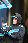 Carolina Panthers middle linebacker Luke Kuechly (59) sign autographs before the Panthers game against the Seattle Seahawks at CenturyLink Field in Seattle, Washington on December 4, 2016.   Kuechly sat out the game due to a concussion.   Seahawks beat the Panthers 40-7.  ©2016. Jim Bryant photo. All Rights Reserved.