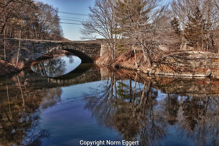 Stone Arch Bridge over the Blackstone River in Uxbridge, MA