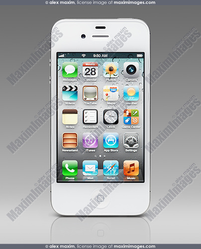 White iPhone 4s Apple smartphone isolated on gradient gray background with clipping path