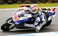 Yamaha MotoGP rider Jorge Lorenzo of Spain during the Australian Motorcycle Grand Prix in Phillip Island, Oct 20, 2013. Photo by Daniel Munoz/VIEWpress IMAGE RESTRICTED TO EDITORIAL USE ONLY- STRICTLY NO COMMERCIAL USE.