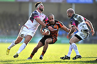 Olly Woodburn of Exeter Chiefs takes on the Ospreys defence. European Rugby Champions Cup match, between Exeter Chiefs and the Ospreys on January 24, 2016 at Sandy Park in Exeter, England. Photo by: Patrick Khachfe / JMP