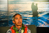 North Shore, Oahu, Hawaii (Wednesday, December 11, 2013,)<br /> Nainoa Thompson &ndash; native Hawaiian navigator of Hawai&lsquo;i&rsquo;s traditional double-hull sailing canoe Hokule&lsquo;a, and President of the Polynesian Voyaging Society &ndash; is a living conduit of Hawaiian culture and traditional wayfinding skills. He spoke for over an hour before being joined on the stage by members of the crew for the three year around the world voyage. They were interviewed by host Jodi Wilmott (AUS) . Photo: joliphotos.com
