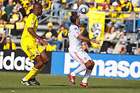 27 MARCH 2010:  Andy Iro of the Columbus Crew (6) and Dwayne De Rosario of Toronto FC (14) during the Toronto FC at Columbus Crew MLS game in Columbus, Ohio on March 27, 2010.