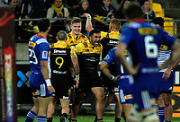 Jordie Barrett celebrates a try during the Super Rugby match between the Hurricanes and Stormers at Westpac Stadium in Wellington, New Zealand on Friday, 5 May 2017. Photo: Mike Moran / lintottphoto.co.nz