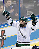 Justin Abdelkader (Michigan State - Muskegon, MI) celebrates Snavely's tying goal.  Abdelkader earned the primary assist. The Michigan State Spartans defeated the University of Maine Black Bears 4-2 in their 2007 Frozen Four semi-final on Thursday, April 5, 2007, at the Scottrade Center in St. Louis, Missouri.