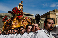 The large throne, with the Paso scene featuring Jesus Christ preaching on the top, is carried during the Holy Week fiesta in Malaga, Spain, 9 April 2007.