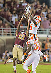 Clemson safety Jadar Johnson intercepts a Deondre Francois pass intended for Auden Tate in the first half of an NCAA college football game in Tallahassee, Fla., Saturday, Oct. 29, 2016. (AP Photo/Mark Wallheiser)