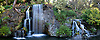 Panoramic Picture of Mayberg Waterfall at L.A. County Arboretum, Arcadia, California