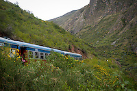 The tren macho, stopped en route to Huancavelica due to landslides.