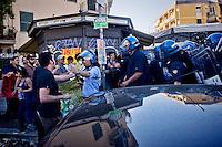 Roma 3 Giugno 2015<br /> Momenti di tensione al presidio anti-rom a Boccea, a Roma, cui hanno partecipato il movimento di estrema destra Casapound e alcuni comitati di quartiere. Una iniziativa contestata da antifascisti, e movimenti per la casa. Boccea &egrave; il quartiere dove mercoled&igrave; 27 maggio un'auto guidata da un 17enne  rom, ha investito nove persone e ucciso la 44enne filippina Corazon Abordo. La polizia in  tenuta antisommossa  allontana gli antifascisti<br /> Rome June 3, 2015<br /> Moments of tension to the protest anti-Roma Boccea in Rome, attended by the far-right movement Casapound and some neighborhood committees. An initiative opposed by anti-fascists, and movements for the house. Boccea is the neighborhood where Wednesday, May 27 car driven by a 17 year old Roma, has invested nine people and killed the 44 year old Filipino Corazon Abordo. Riot police remove the anti-fascists