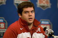 Alabama offensive lineman William Vlachos talks with the reporters during the Alabama Offensive Press Conference at Marriott Hotel at the Convention Center on January 5th, 2011.