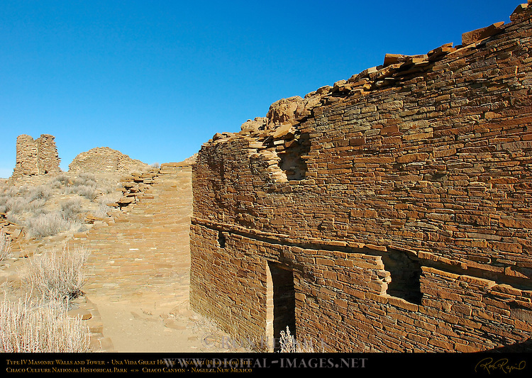 Type IV Masonry Walls, Earliest Walls and Tower, Una Vida Chacoan Great House, Anasazi Hisatsinom Ancestral Pueblo Site, Chaco Culture National Historical Park, Chaco Canyon, Nageezi, New Mexico