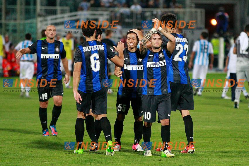 Esultanza Wesley Sneijder Inter..Celebration..Pescara 26/08/2012 Stadio Adriatico..Football Calcio Serie A Pescara v Inter..Foto Insidefoto Paolo Nucci..