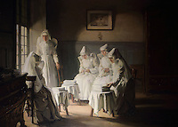 Painting by Joseph Bail, 1862-1921, showing the nuns at the Hospice de Beaune mending sheets in their spare time, at Les Hospices de Beaune, or Hotel-Dieu de Beaune, a charitable almshouse and hospital for the poor, built 1443-57 by Flemish architect Jacques Wiscrer, and founded by Nicolas Rolin, chancellor of Burgundy, and his wife Guigone de Salins, in Beaune, Cote d'Or, Burgundy, France. Bail made many paintings of life in the Hospices. The hospital was run by the nuns of the order of Les Soeurs Hospitalieres de Beaune, and remained a hospital until the 1970s. The building now houses the Musee de l'Histoire de la Medecine, or Museum of the History of Medicine, and is listed as a historic monument. Picture by Manuel Cohen