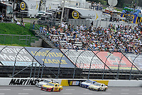 30 March - 1 April, 2012, Martinsville, Virginia USA.AJ Allmendinger, Ryan Newman, crowd, fans.(c)2012, Scott LePage.LAT Photo USA