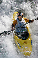RAMAZZA Michele (Italy).Kayak downhill race in the Brandseth river. The Extremesport Week, Ekstremsportveko, is the worlds largest gathering of adrenalin junkies. In the small town of Voss enthusiasts in a varitety of extreme sports come togheter every summer to compete and play. Norway.  ©Fredrik Naumann/Felix Features.