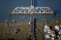 aerial photograph, Swing Bridge, Petaluma River, Novato, Marin County, California