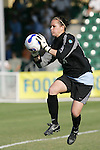 11 November 2007: North Carolina goalkeeper Ashlyn Harris makes a play on a late ball in the penalty area. The University of North Carolina defeated Florida State University 1-0 at the Disney Wide World of Sports complex in Orlando, FL in the Atlantic Coast Conference Women's Soccer tournament final.