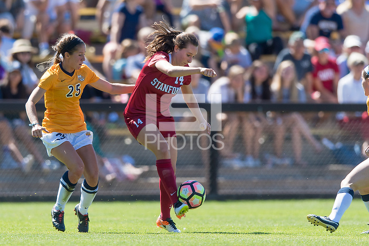 Stanford, CA - September 4, 2016:  Siobhan Cox during the Stanford vs Marquette Women's soccer match in Stanford, California.  The Cardinal defeated the Golden Eagles 3-0.