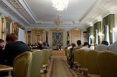 Kiev, Ukraine.August 29, 2005 ..President Victor Yushchenko presides over a financial budget meeting for the coming year with government officials and economic experts.