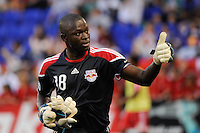 New York Red Bulls goalkeeper Bouna Coundoul (18) gives a thumbs up before the game. The New York Red Bulls defeated the San Jose Earthquakes 2-0 during a Major League Soccer (MLS) match at Red Bull Arena in Harrison, NJ, on August 28, 2010.