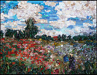 BNPS.co.uk (01202 558833)<br /> Pic: Bluebowerbird/BNPS<br /> <br /> Monet's famous poppy field recreated in recycled plastic.<br /> <br /> PopArt - Artist Jane Perkins recreates famous people and paintings from recycled plastic rubbish.<br /> <br /> Her stunning 'Plastic Classics' generate the most interest and sell for thousands of pounds.<br /> <br /> She has created rubbish replica's of famous paiintings by Van Gogh's, Monet, Raphael, Gustav Klimt, Salvi and Frida Kahlo as well as Japanese artist Katsushika Hokusai's the Great Wave of Kanagawa.<br /> <br /> She also creates pictures of animals for private commissions. For example, a stunning work of a tiger's head is made up of objects like plastic toy animals, golf tees and beads.<br /> <br /> Jane, a former hospital nurse from Kenton, near Exeter, Devon, now sells her work for up to &pound;2,500 a go.<br /> <br /> She said: &quot;I go to car boot sales and buy anything that is plastic, mostly toys and bits of broken jewellery, anything small. The neighbours often give me bags of bits and pieces they no longer want. <br /> <br /> &quot;People love them because they can see the whole image but also see what is in it. They can find things in them that they recognise, like little bits from their childhood.