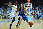 26 February 2012: Duke's Tricia Liston (32) and North Carolina's Brittany Rountree (11). The Duke University Blue Devils defeated the University of North Carolina Tar Heels 69-63 at Carmichael Arena in Chapel Hill, North Carolina in an NCAA Division I Women's basketball game.