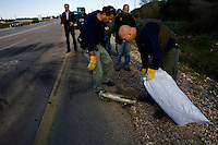 Sderot, Israel Jan 1, 2009.A Kassam rocket has hit a highway less than a kilometer from the city, fortunately, no one was hurt. More than 7000 Palestinian rockets have hit the town in the last few years. Israeli civilians in Sderot have just a few seconds to take refuge into a concrete bomb shelter when a Palestinian rocket launch has been detected.