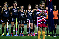 L_R: Steph Dickins, Olivia Merry, Erin Goad, Samantha Harrison and Sam Charlton during the international hockey match between the Blacksticks Women and India, Rosa Birch Park, Pukekohe, New Zealand. Tuesday 16  May 2017. Photo:Simon Watts / www.bwmedia.co.nz