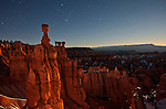 Shooting star falls over Thor's Hammer and Bryce Canyon at moonrise in Bryce Canyon National Park, Utah