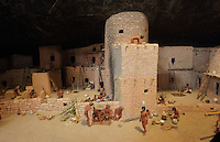 Model depicting the Great Classic Pueblo Period, 1100-1300 AD, when people moved from small, compact villages on the mesa tops to alcoves where they built cliff dwellings like Spruce Tree House, shown here in the late 13th century, in the Chapin Mesa Archeological Museum, in Mesa Verde National Park, Montezuma County, Colorado, USA. Mesa Verde is the largest archaeological site in America, with Native Americans inhabiting the area from 7500 BC to 13th century AD. It is listed as a UNESCO World Heritage Site. Picture by Manuel Cohen