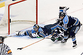 Ben Bishop (University of Maine - Des Peres, MO), Tim Crowder (Michigan State - Victoria, BC), Matt Duffy (University of Maine - Windham, ME) - The Michigan State Spartans defeated the University of Maine Black Bears 4-2 in their 2007 Frozen Four semi-final on Thursday, April 5, 2007, at the Scottrade Center in St. Louis, Missouri.