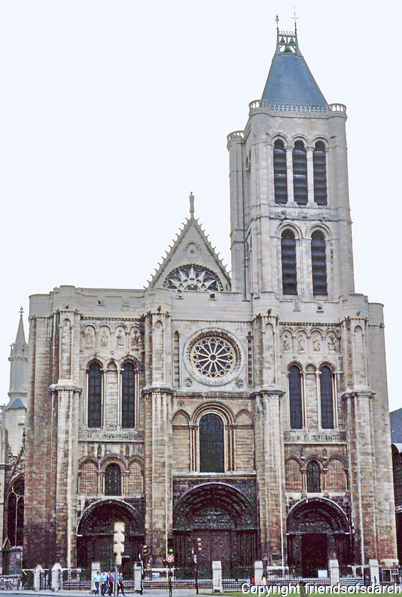Paris: Basilica of Saint-Denis--elevation. Evidently the western front only undertaken in mid-13th C., 100 years afte death of Abbe Suger in 1151. The original north tower ruined in botched restoration, early 19th C . Photo '90.