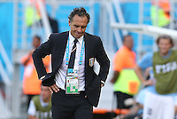 Italy coach Cesare Prandelli shows a look of dejection