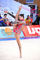 Veronica Navarro of Mexico performs with rope at 2010 Holon Grand Prix at Holon, Israel on September 3, 2010.  (Photo by Tom Theobald).