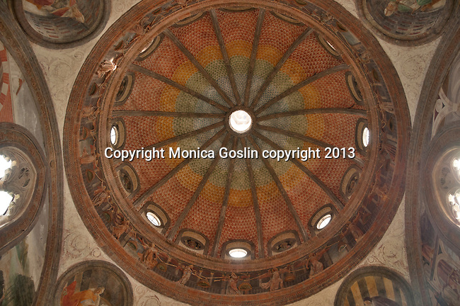Dome of the Portinari Chapel was built in the 14th century and houses the relics of Saint Peter of Verona; the small chapel is part of the Basilica of Sant'Eustorgio, which holds the tomb of the Three Kings, of Romanesque style and rebuilt in the 12th century