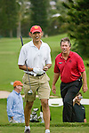 Barack Obama golfs during his stay in Hawaii at Mid-Pacific Country Club in Lanikai, Kailua, Hawaii.  Tim Dietrich, General Manager of Mid-Pac follows behind.