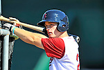 30 June 2012: Lowell Spinners' catcher J.T. Watkins awaits his turn in the batting cage prior to a game against the Vermont Lake Monsters at Centennial Field in Burlington, Vermont. Mandatory Credit: Ed Wolfstein Photo