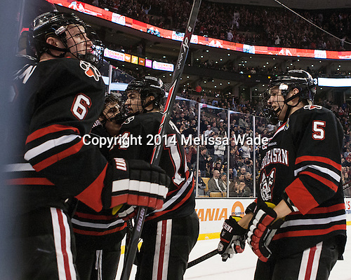 The Huskies and their fans celebrate Stevens' goal. - The Boston College Eagles defeated the Northeastern University Huskies 4-1 (EN) on Monday, February 10, 2014, in the 2014 Beanpot Championship game at TD Garden in Boston, Massachusetts.