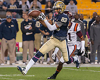 Pitt wide receiver Tyler Boyd (23) makes a 53-yard touchdown catch and run. The Pitt Panthers defeated the Virginia Tech Hokies 21-16 at Heinz Field, Pittsburgh Pennsylvania on October 16, 2014