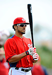 25 February 2012: Washington Nationals' shortstop Ian Desmond awaits his turn in the batting cage during the first full squad Spring Training workout at the Carl Barger Baseball Complex in Viera, Florida. Mandatory Credit: Ed Wolfstein Photo